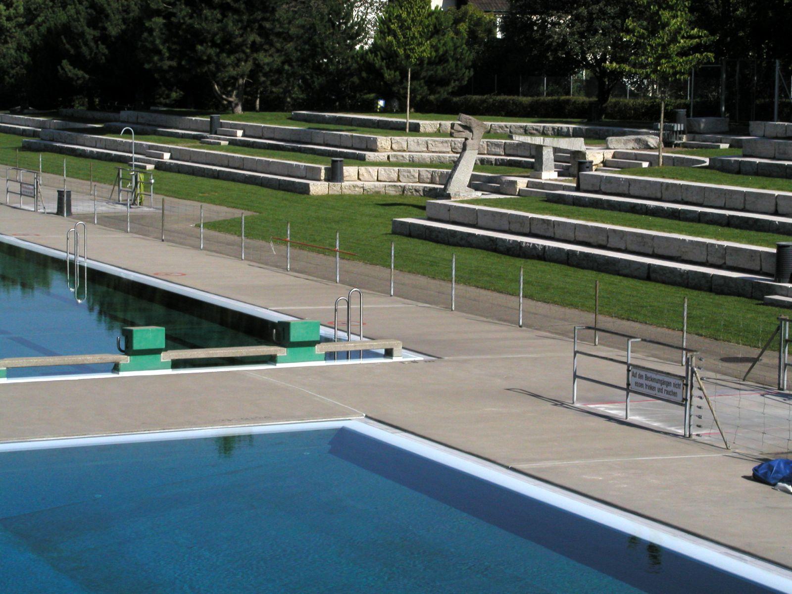 Blick auf Liegewiese und Schwimmbecken